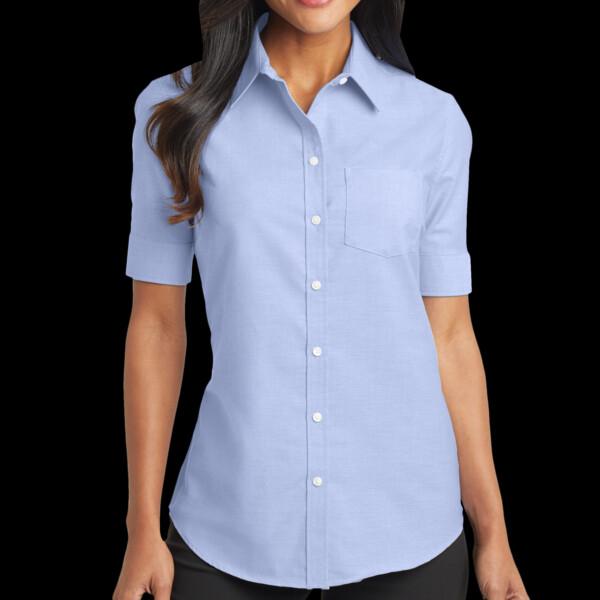 82f42c1d2709ab Port Authority Ladies Short Sleeve SuperPro ™ Oxford Shirt L659