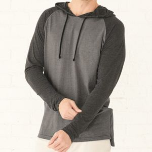 Fine Jersey Long Sleeve Hooded Raglan T-Shirt Thumbnail